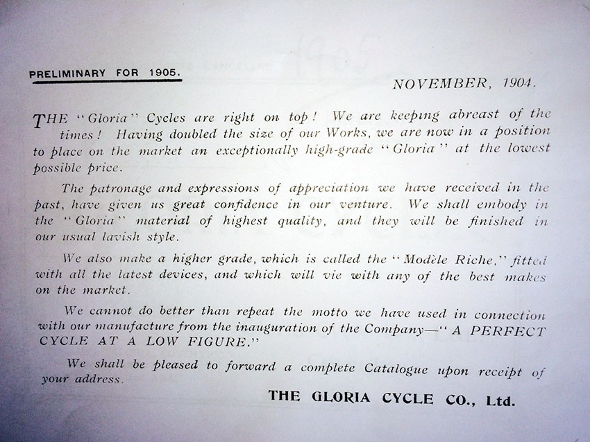 1905 Triumph Gloria catalogue 02