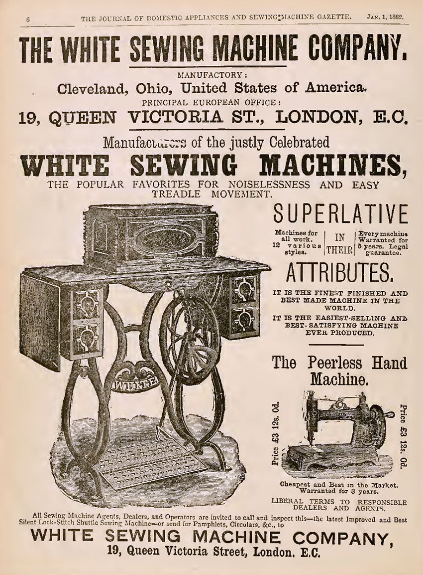 1882 White Peerless advert copy