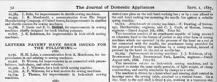 1886 EG Benford patent 0