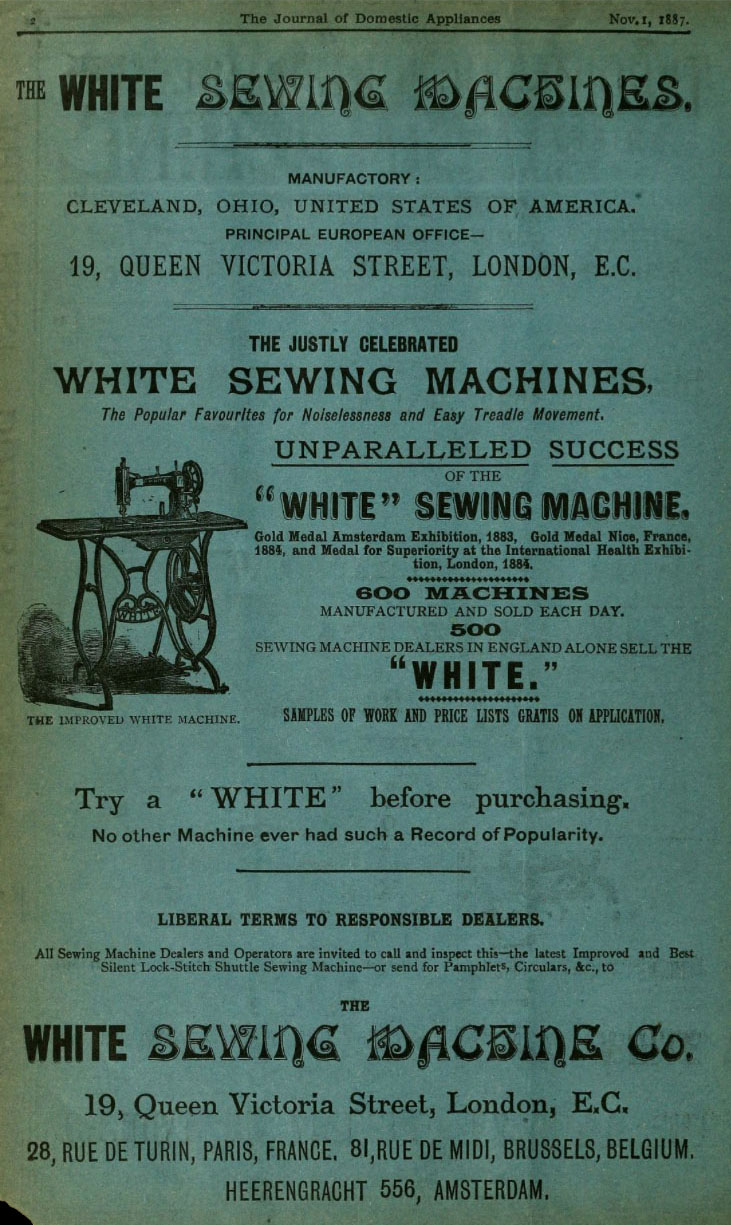 1887 white sewing machine co advert