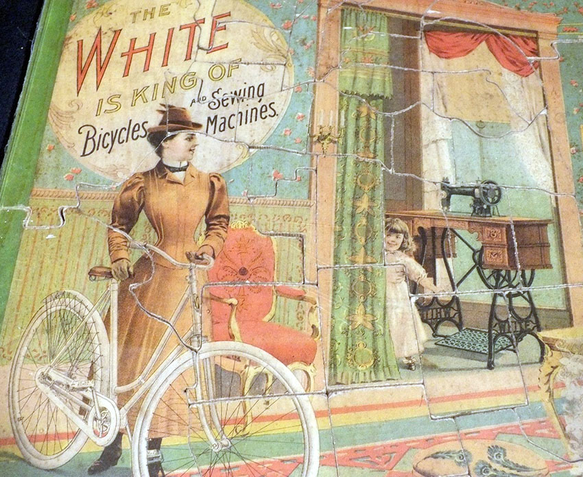 white sewing machines bicycles